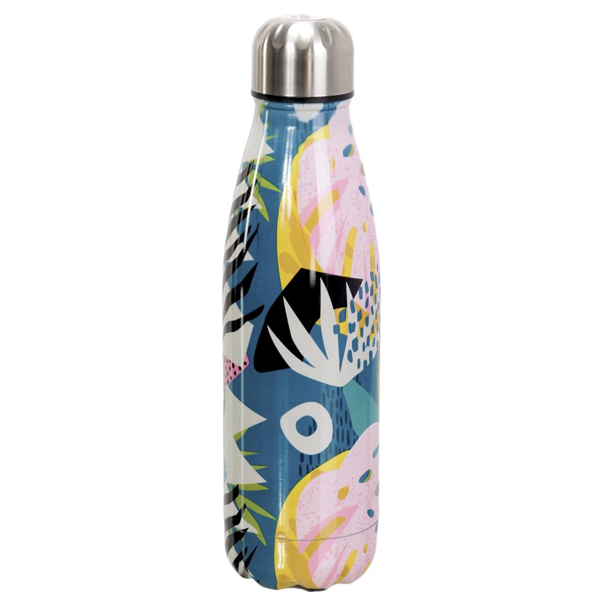 Bouteille isotherme design \'Floral\' multicolore - 25x6 cm (500 ml) - [A1725]