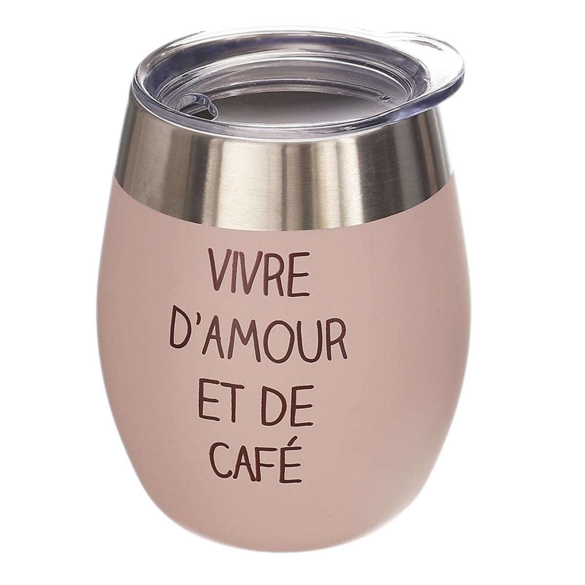 Mug de transport design \'Vivre d\'Amour et de Café\' rose (acier) - 10x8 cm (20 cl) - [A1730]