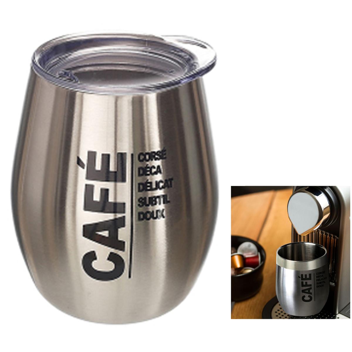 Mug de transport design \'Café\' argenté (acier) - 10x8 cm (20 cl) - [A1732]