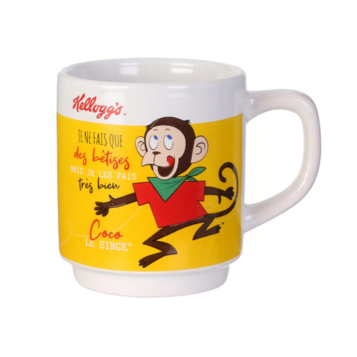 Mug céramique empilable \'Kellogg\'s\' jaune - 8x6 cm (12 cl) - [A1753]