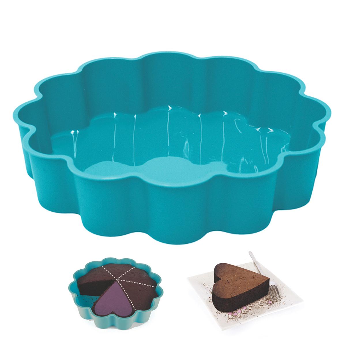 Moule silicone \'Part de Coeur\' turquoise - 24x5 cm - [A1758]