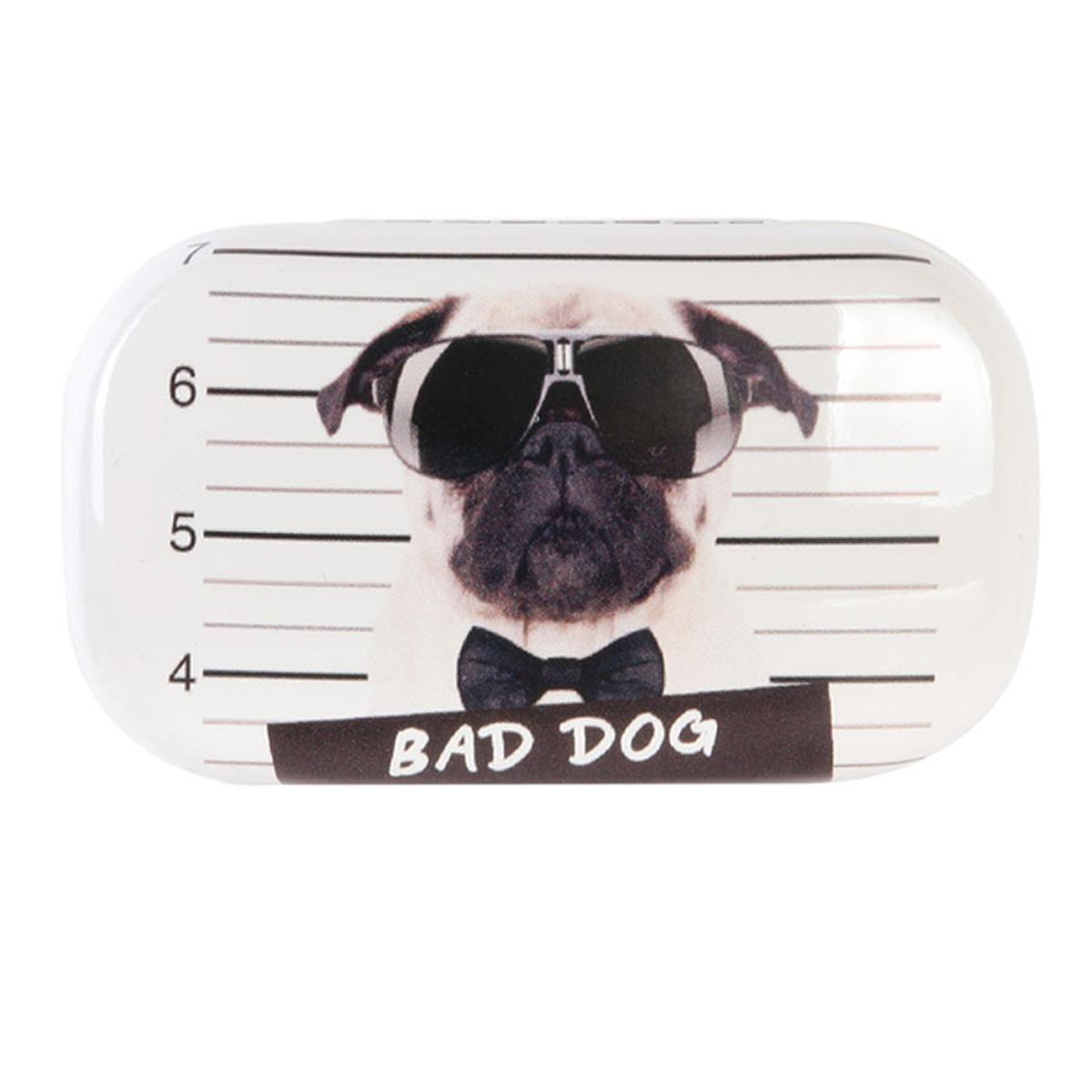 Etui à lentilles de contact \'Bad Dog\' noir blanc - 80x45x30 mm - [A1772]