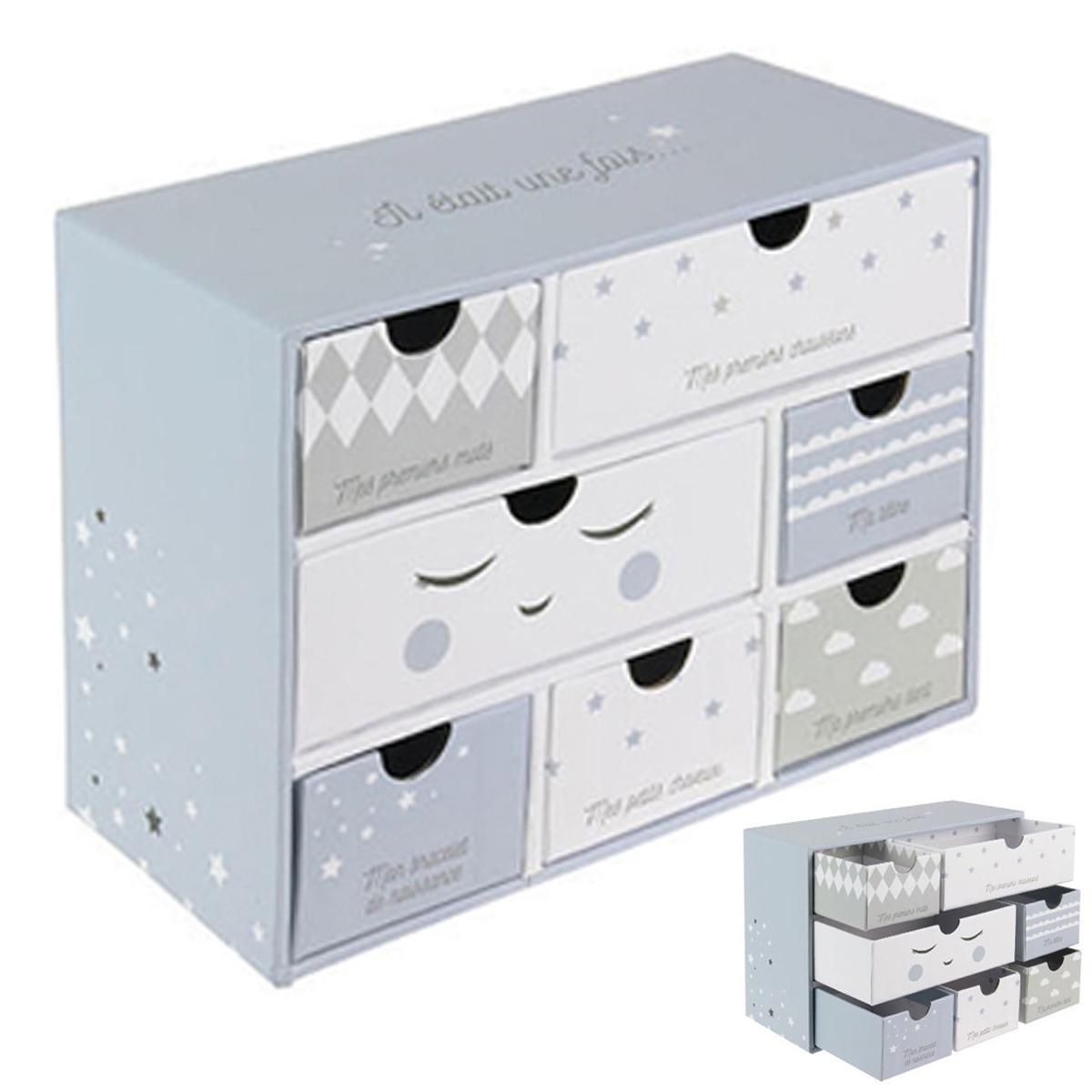 Boite à souvenirs bébé \'Il Etait Une Fois\' bleu gris blanc - 19x15x9 cm (7 tiroirs) - [A1790]