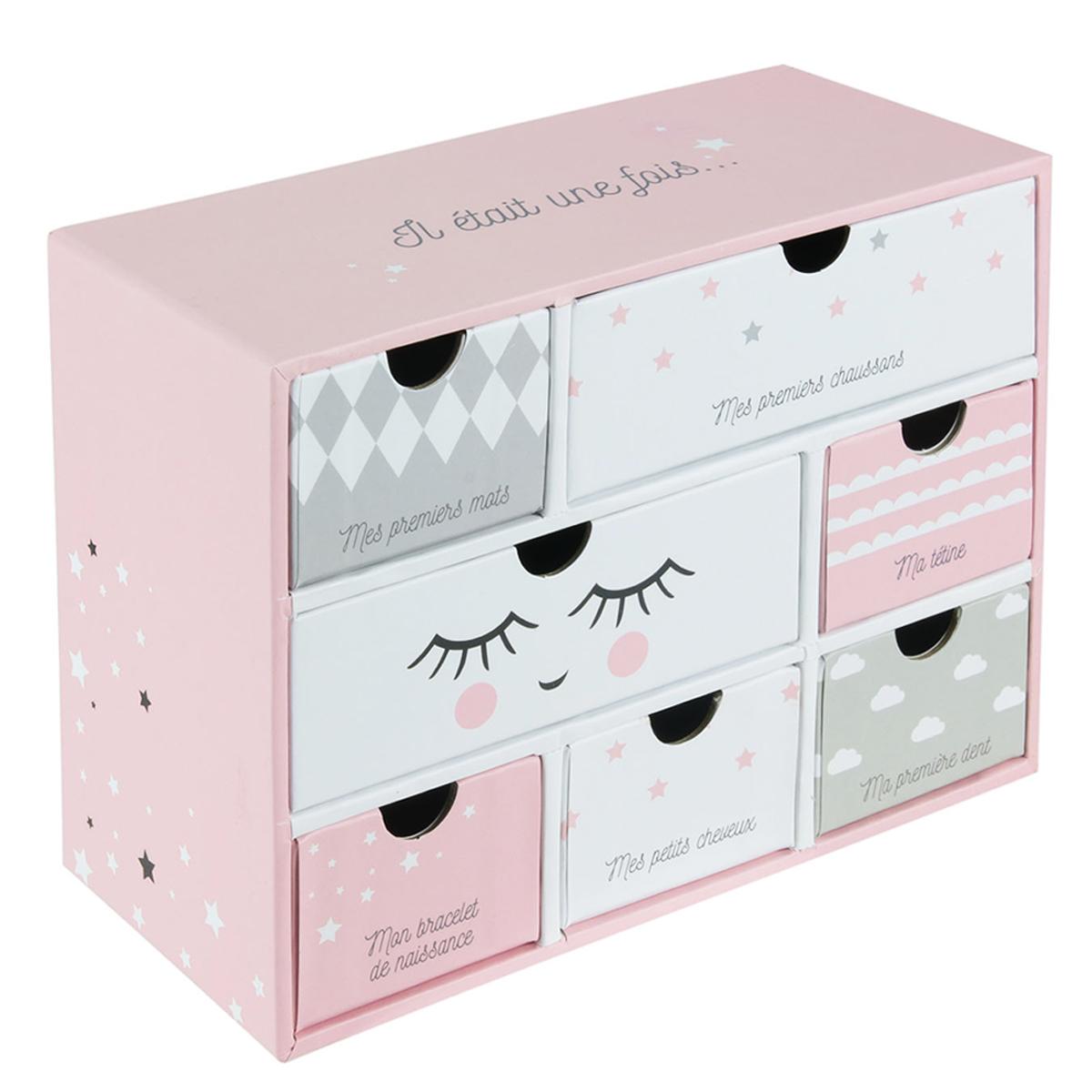 Boite à souvenirs bébé \'Il Etait Une Fois\' rose blanc - 19x15x9 cm (7 tiroirs) - [A1791]