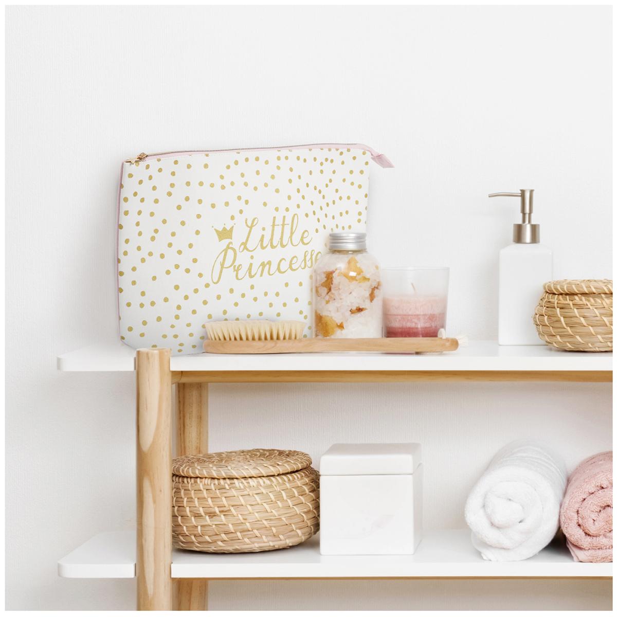 Trousse de toilette coton \'Little Princesse\' blanc rose - 37x23x10 cm - [A1800]