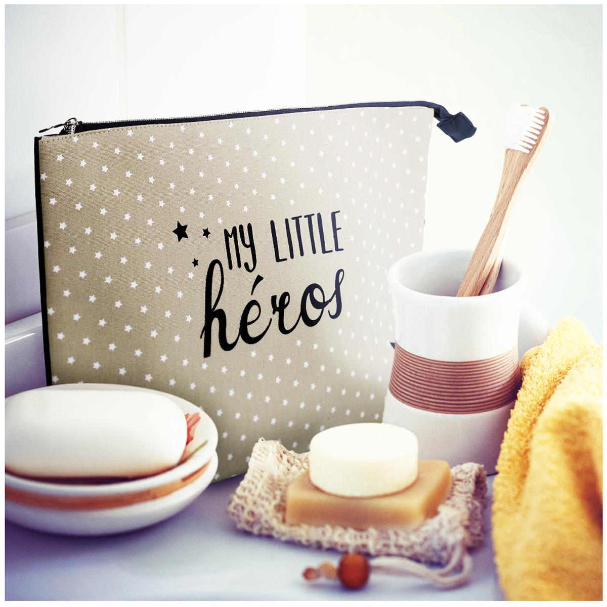 Trousse de toilette coton \'My Little Héros\' gris marine - 37x23x10 cm - [A1801]
