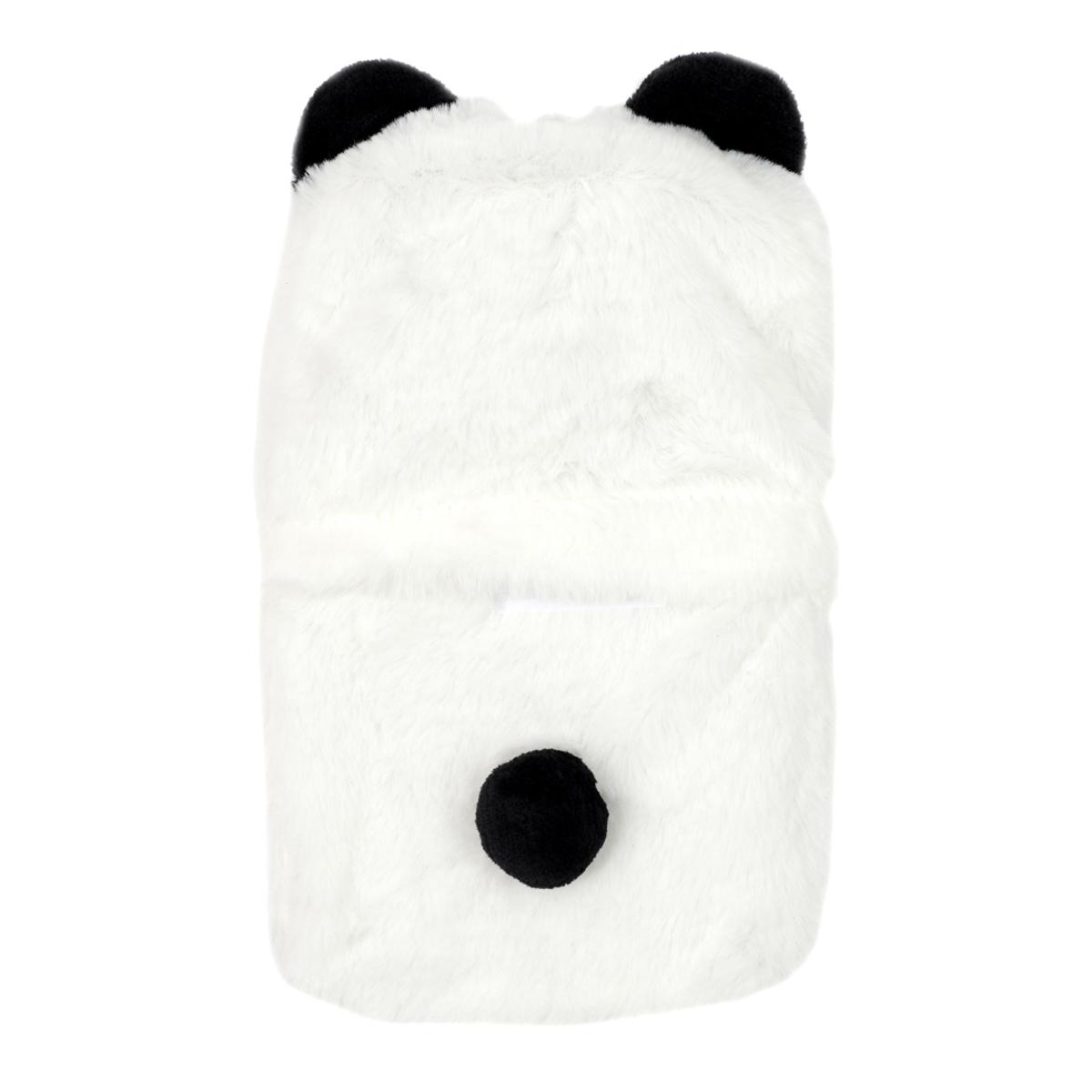 Bouillotte peluche \'Animaux\' blanc noir (panda) - 28x17 cm (1L) - [A1802]