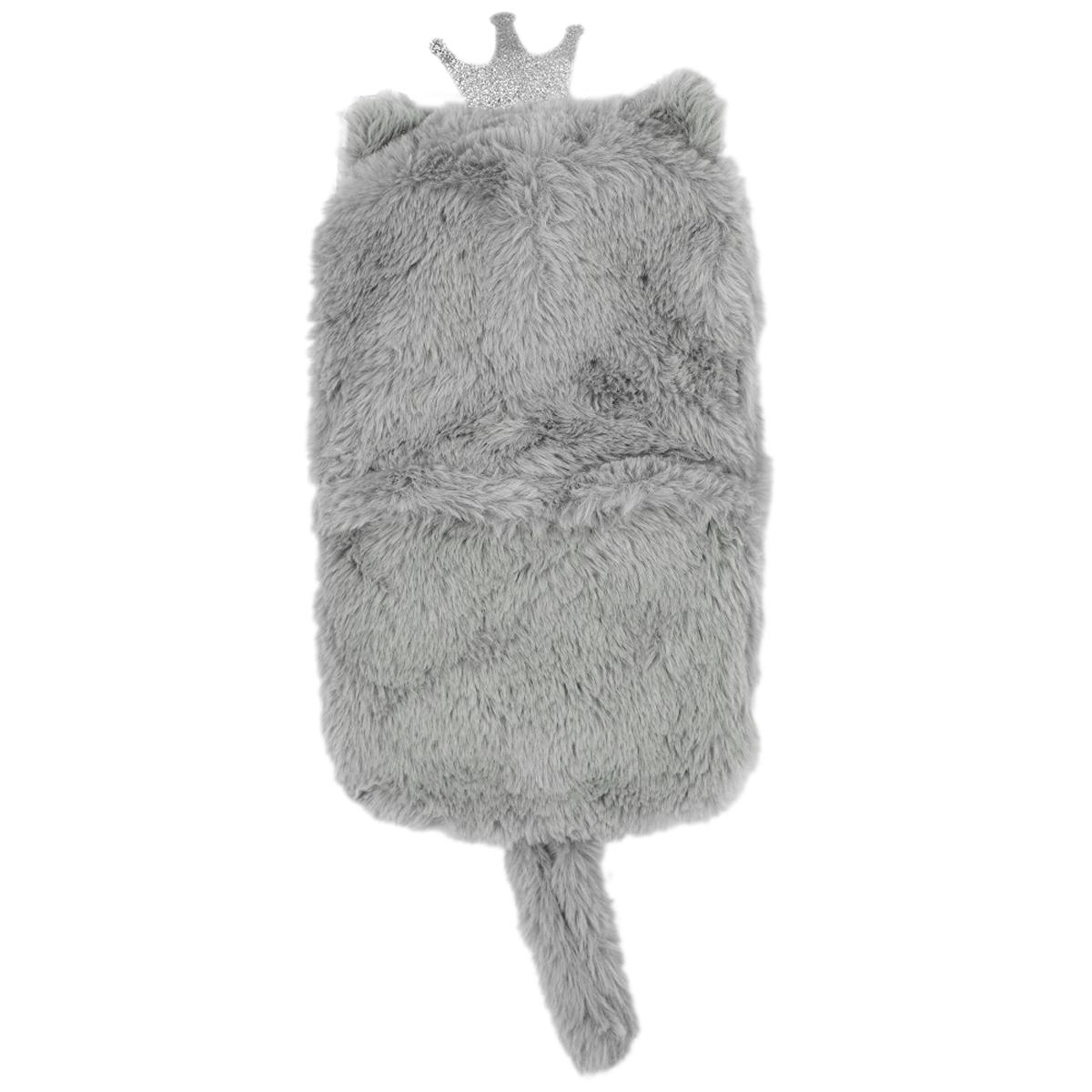 Bouillotte peluche \'Animaux\' gris (chat) - 28x17 cm (1L) - [A1804]