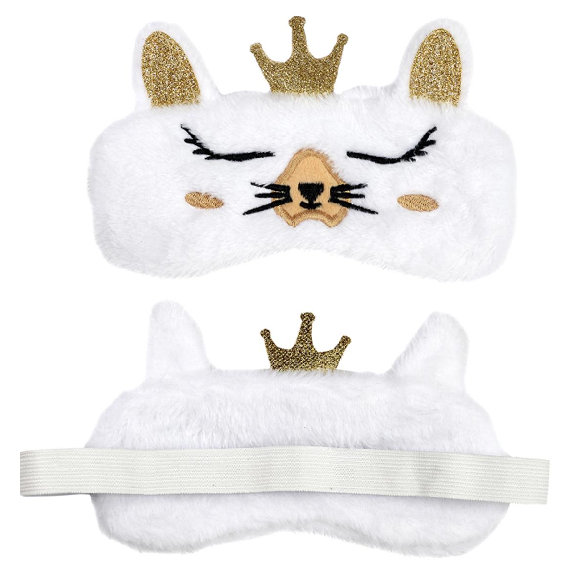 Masque de voyage / masque de nuit \'Animaux\' blanc doré (lapin) - 19x12 cm - [A1805]