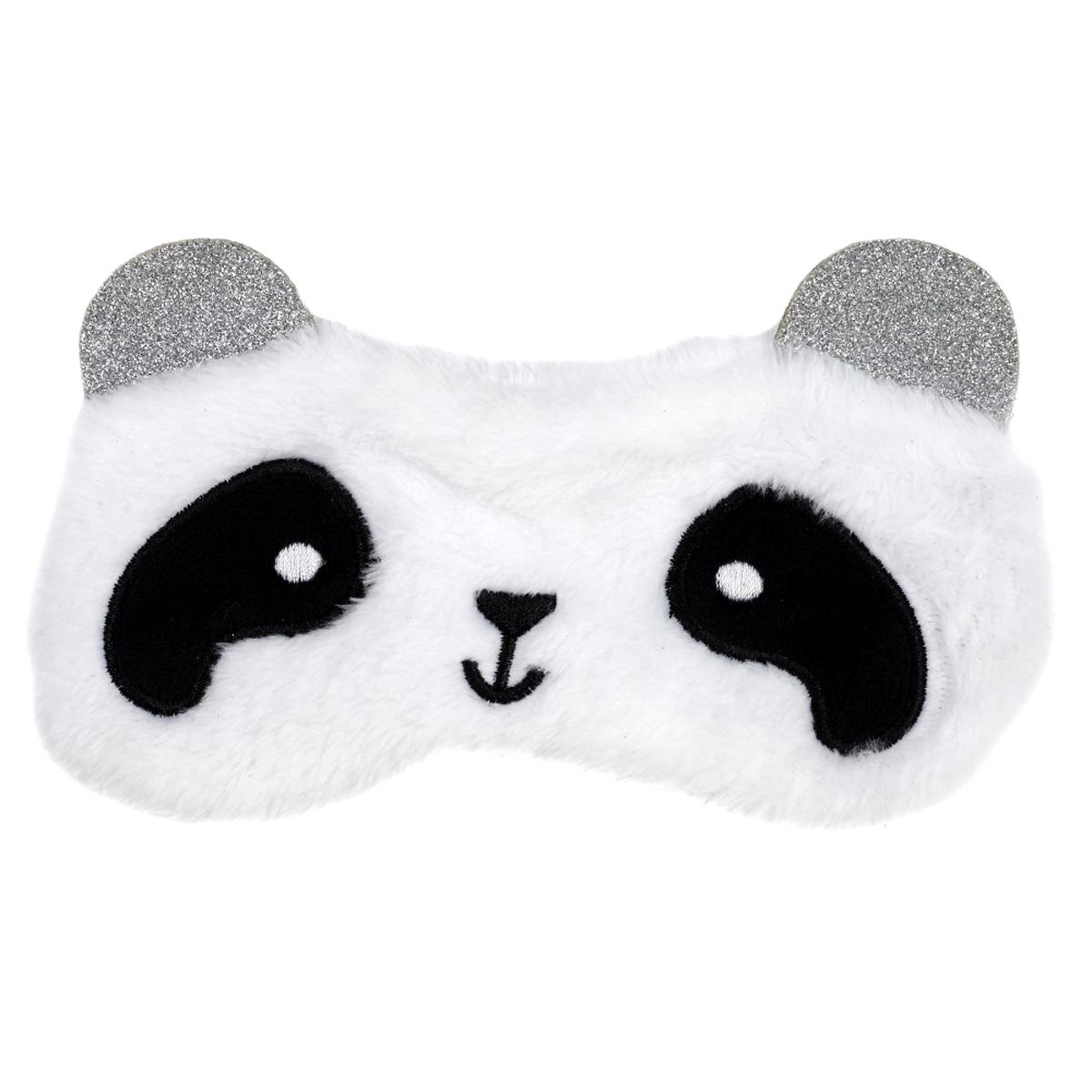 Masque de voyage / masque de nuit \'Animaux\' blanc noir (panda) - 19x12 cm - [A1806]