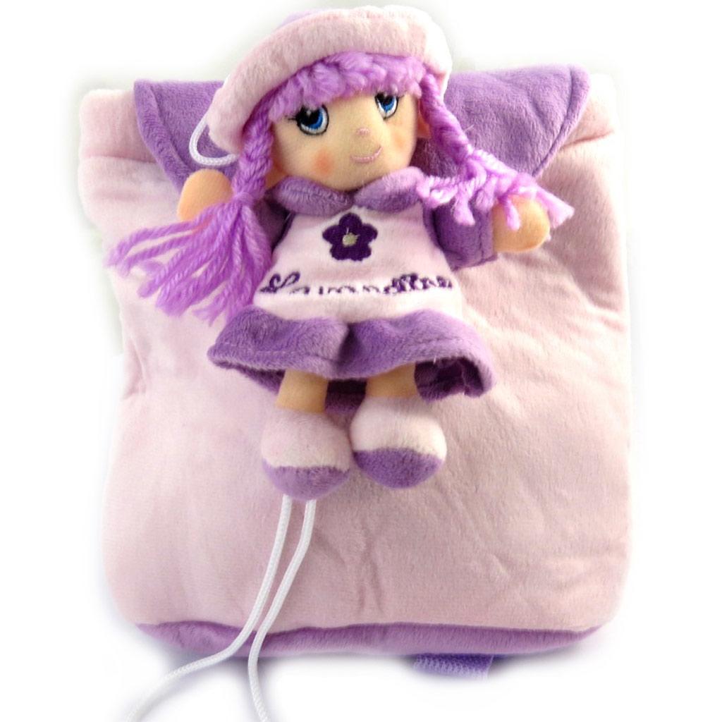 Sac à dos peluche \'Lavandine\' violet - 20x16x4 cm - [M1346]