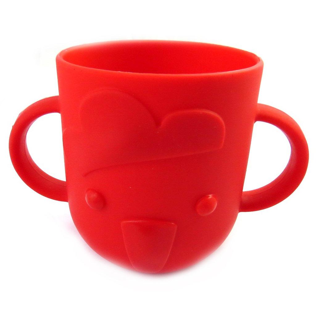 Gobelet bébé silicone \'Animaux\' rouge - 8x7 cùm - [M6342]