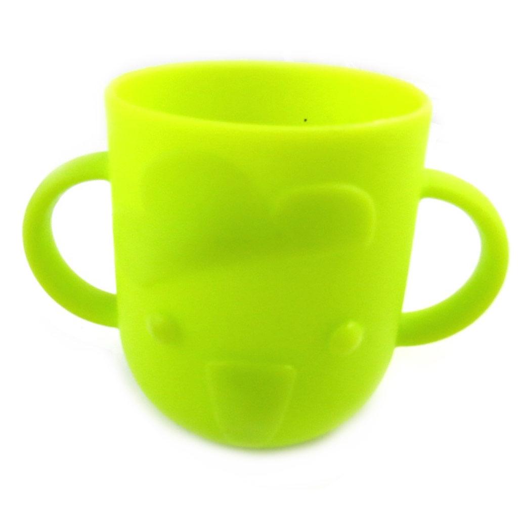Gobelet bébé silicone \'Animaux\' vert - 7x8 cm - [M6343]