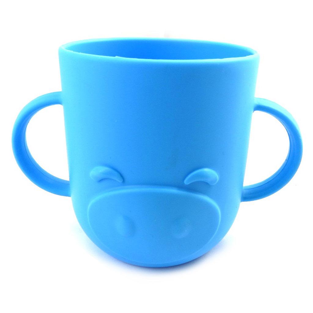 Gobelet bébé silicone \'Animaux\' bleu - 7x8 cm - [M6345]