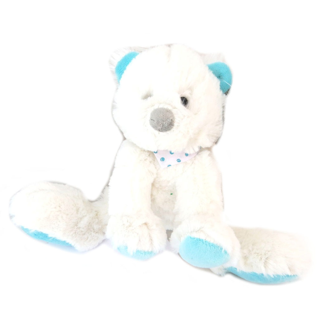 Peluche doudou \'Teddy\' blanc turquoise - 27 cm - [P6210]