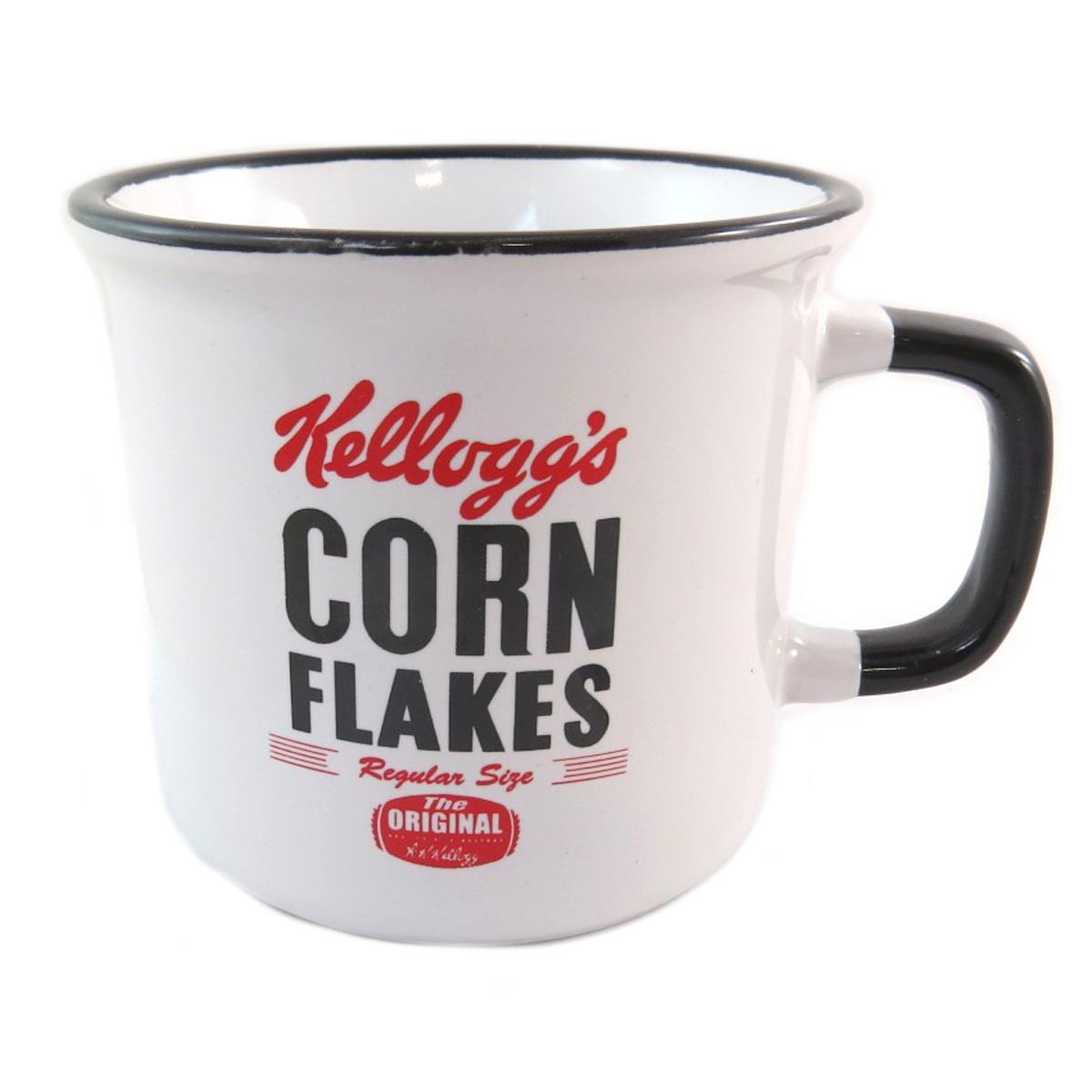 Mug céramique \'Kellogg\'s\' noir blanc (Corn Flakes) - 12x8 cm - [Q0321]