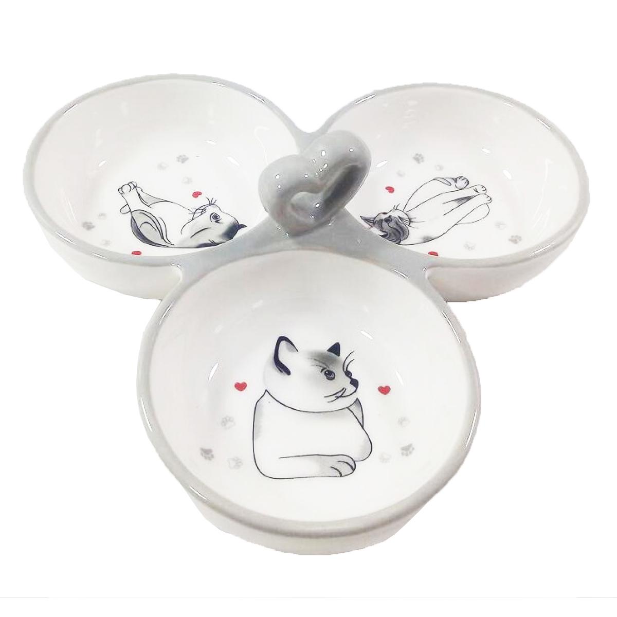 Coupelle apéro céramique \'Un Amour de Chats\' gris blanc (3 compartiments) - 16x16x3 cm - [Q3800]