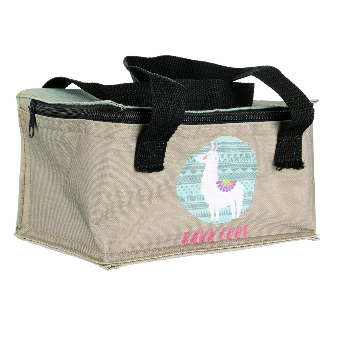 Lunch box / Sac repas isotherme \'Lama Mania\' turquoise beige (baba cool) - 215x145x12 cm - [Q4460]