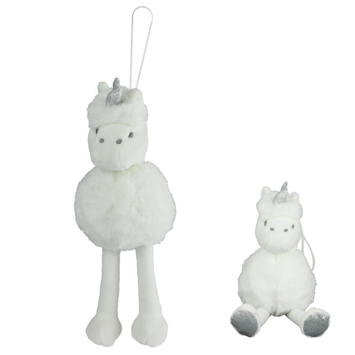 Peluche design \'Licorne My Unicorn\' blanc argenté - 25 cm - [Q4774]