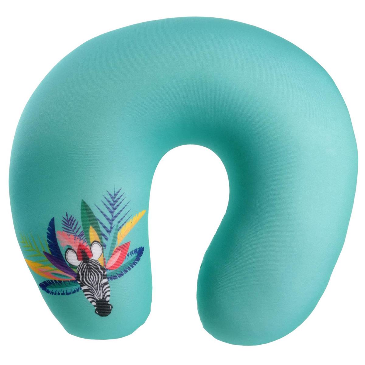 Coussin de nuque / oreiller de voyage \'Tropical\' turquoise (zèbre) - 27x25x10 cm - [Q7716]