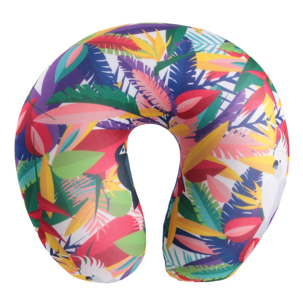 Coussin de nuque / oreiller de voyage \'Tropical\' multicolore (toucan - cacatoes) - 27x25x10 cm - [Q7717]