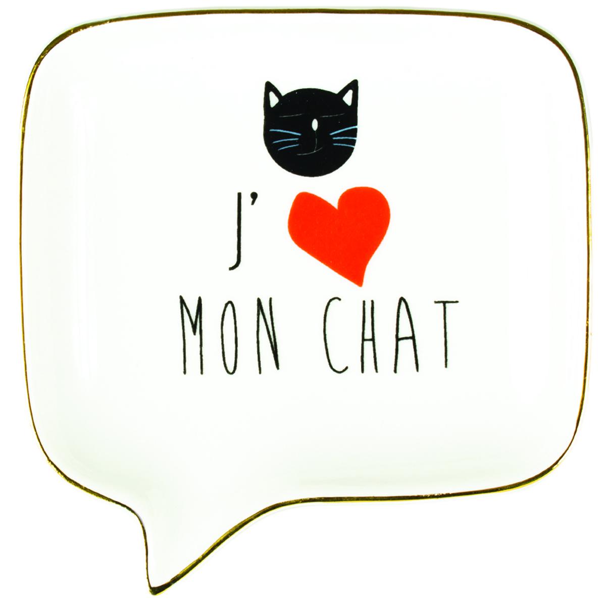Coupelle vide-poches céramique \'J\'aime mon Chat\' blanc noir rouge - 115x113x2 cm - [R0487]