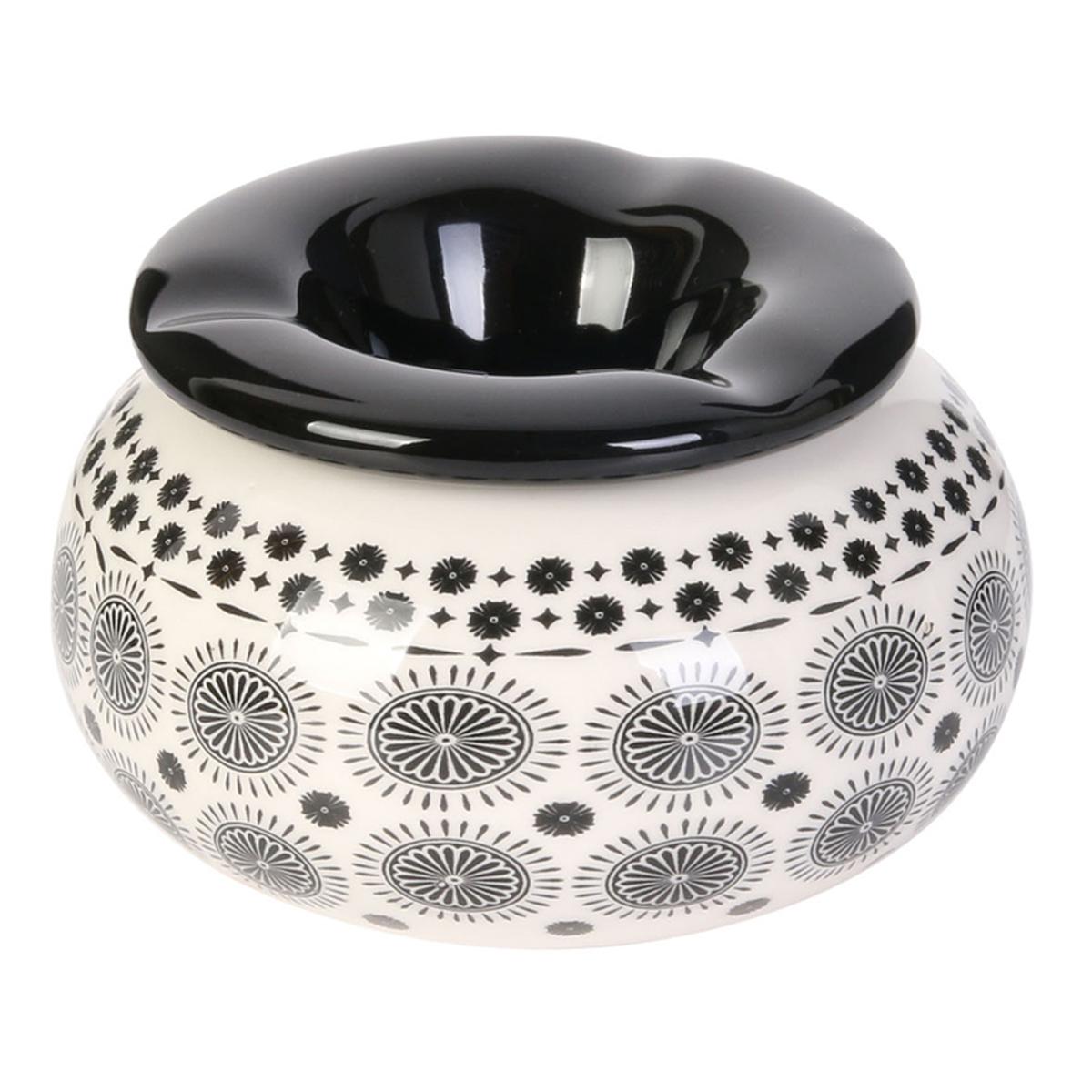 Cendrier marocain céramique \'Boho\' noir - 10x6 cm - [A1819]