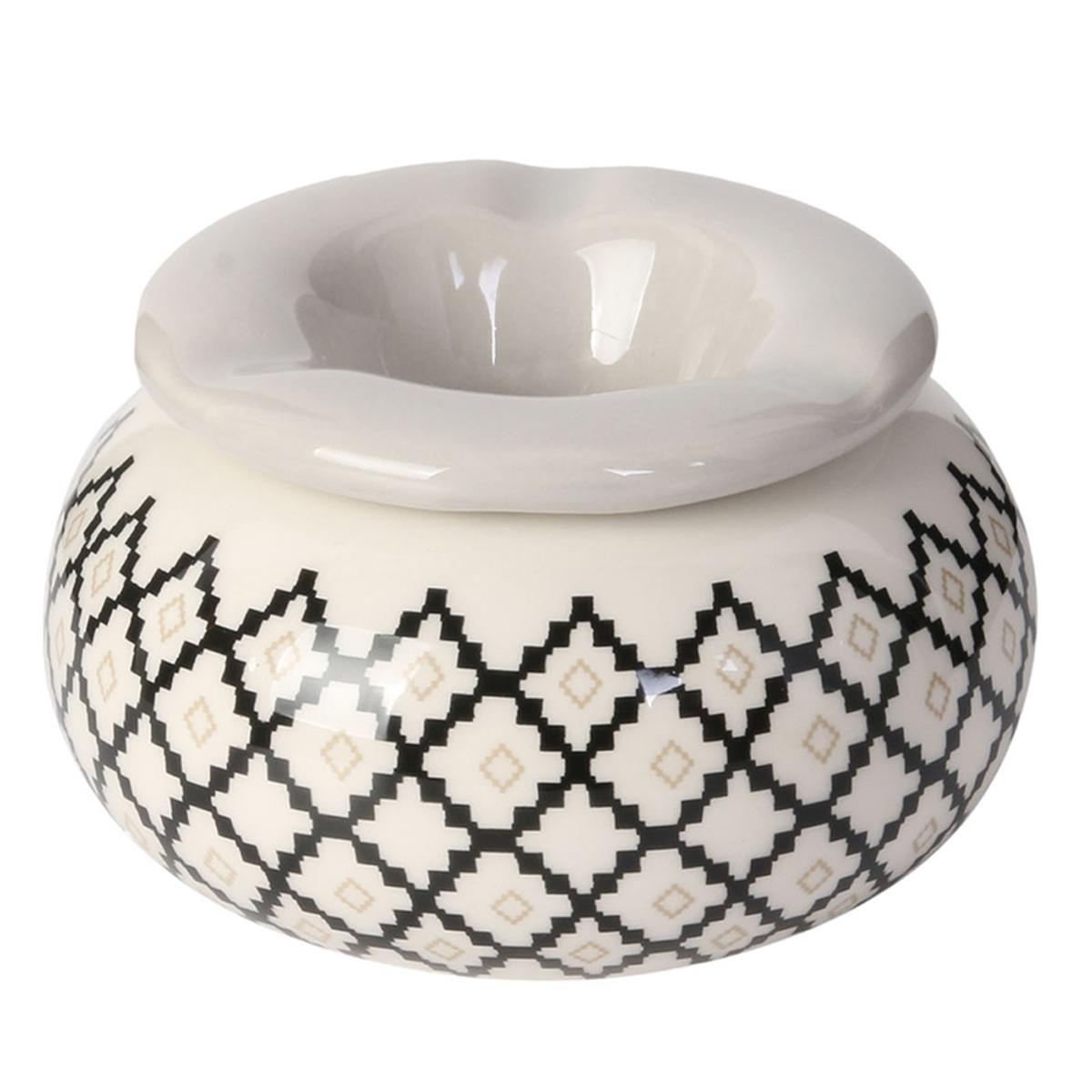 Cendrier marocain céramique \'Boho\' gris - 10x6 cm - [A1821]
