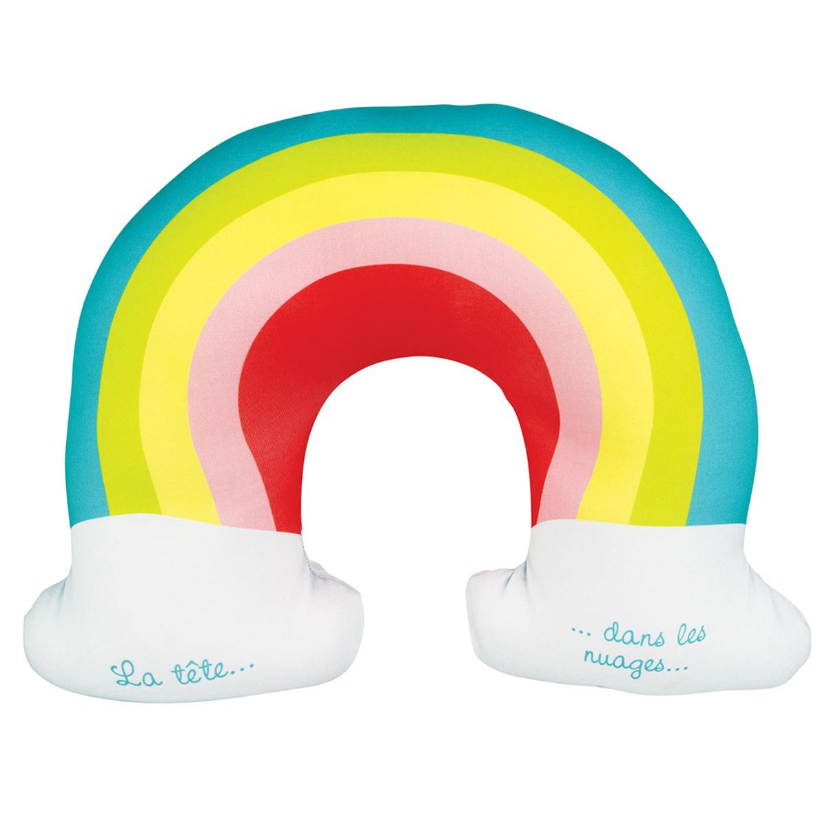 Coussin de nuque / oreiller de voyage \'Arc en ciel\' multicolore (la tête dans les nuages) - 28x26 cm - [A1826]
