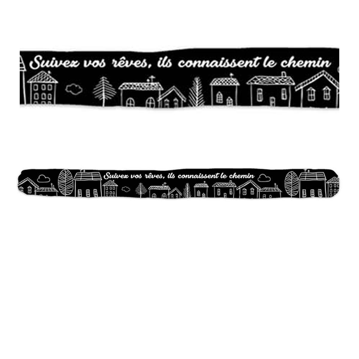 Boudin de porte \'Messages\' noir (Suivez vos rêves, ils connaissent le chemin) - 80x7 cm - [A0394]