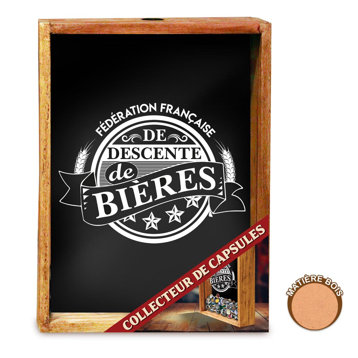 Collecteur Capsules de Bières \'FF Descente de Bières\' (bois) - 25x19x8 cm - [A1069]