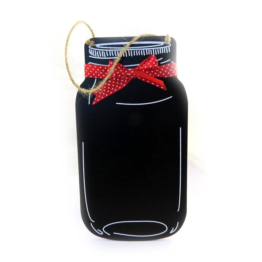 Mémo ardoise \'Pot de Confiture\' noir rouge - 30x16 cm - [M1670]