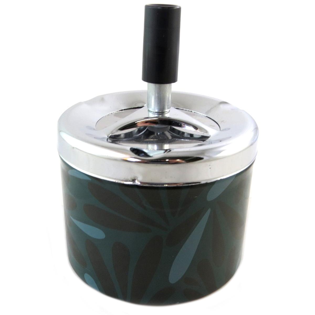 Cendrier métal \'Jungle\' vert noir - 12x9 cm - [P9498]
