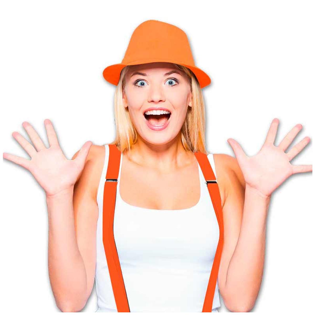 Chapeau Borsalino \'Coloriage\' orange - [Q5517]