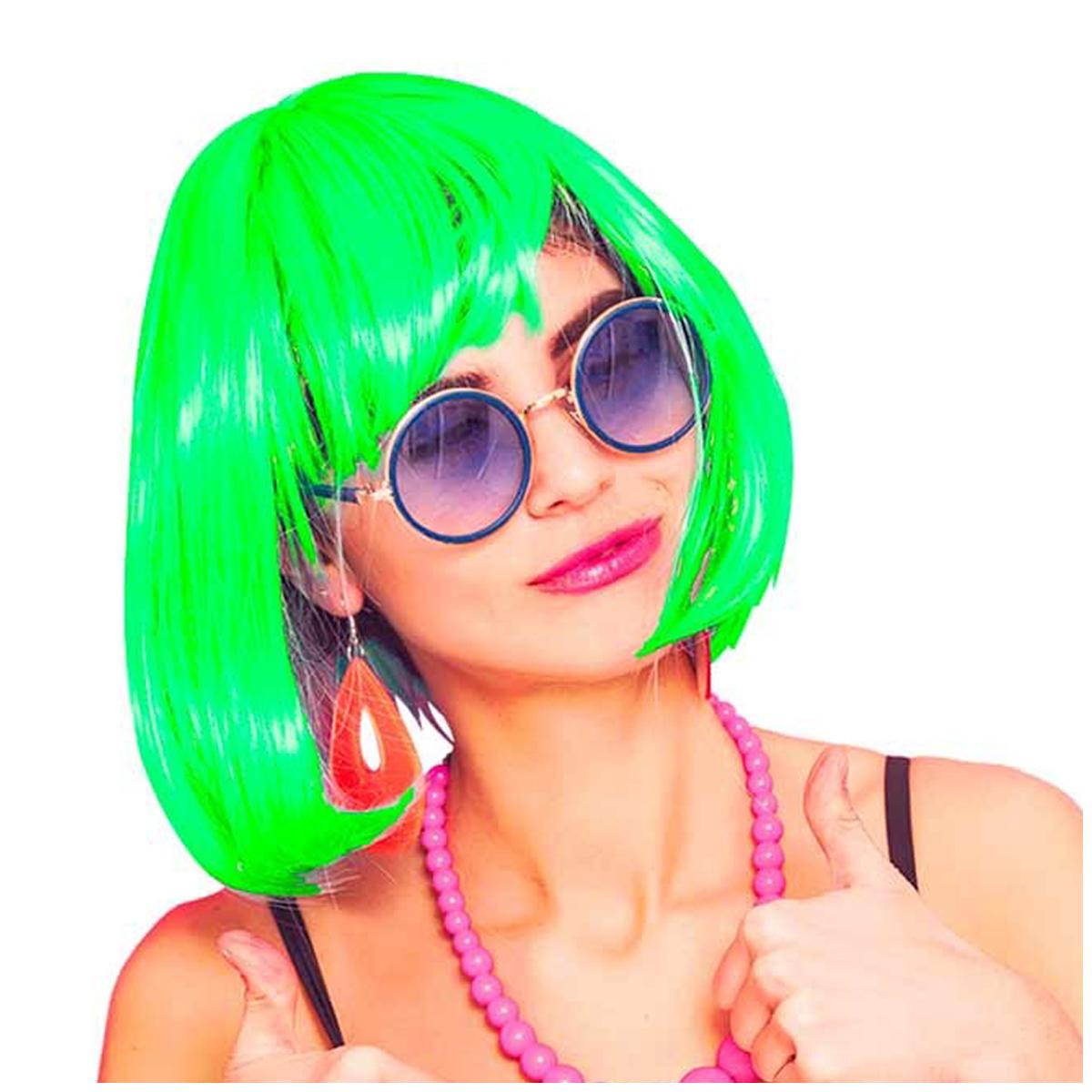 Perruque \'Coloriage\' vert - 26 cm - [Q5555]