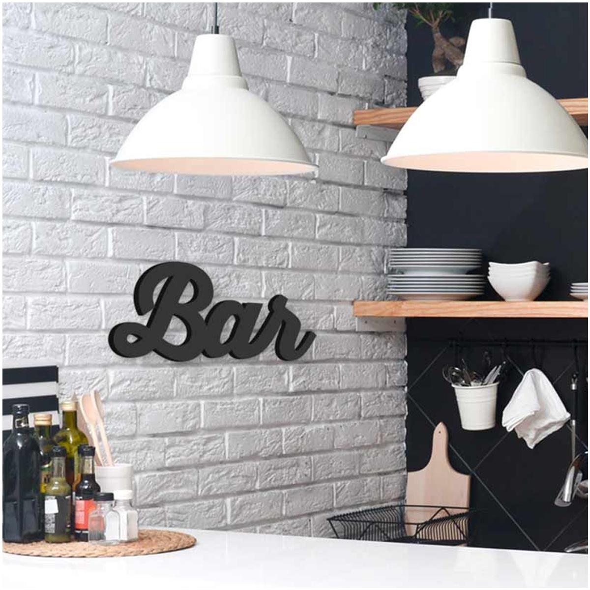 Mot Déco bois 3D \'Bar\' noir - 30x14x15 cm - [Q6572]
