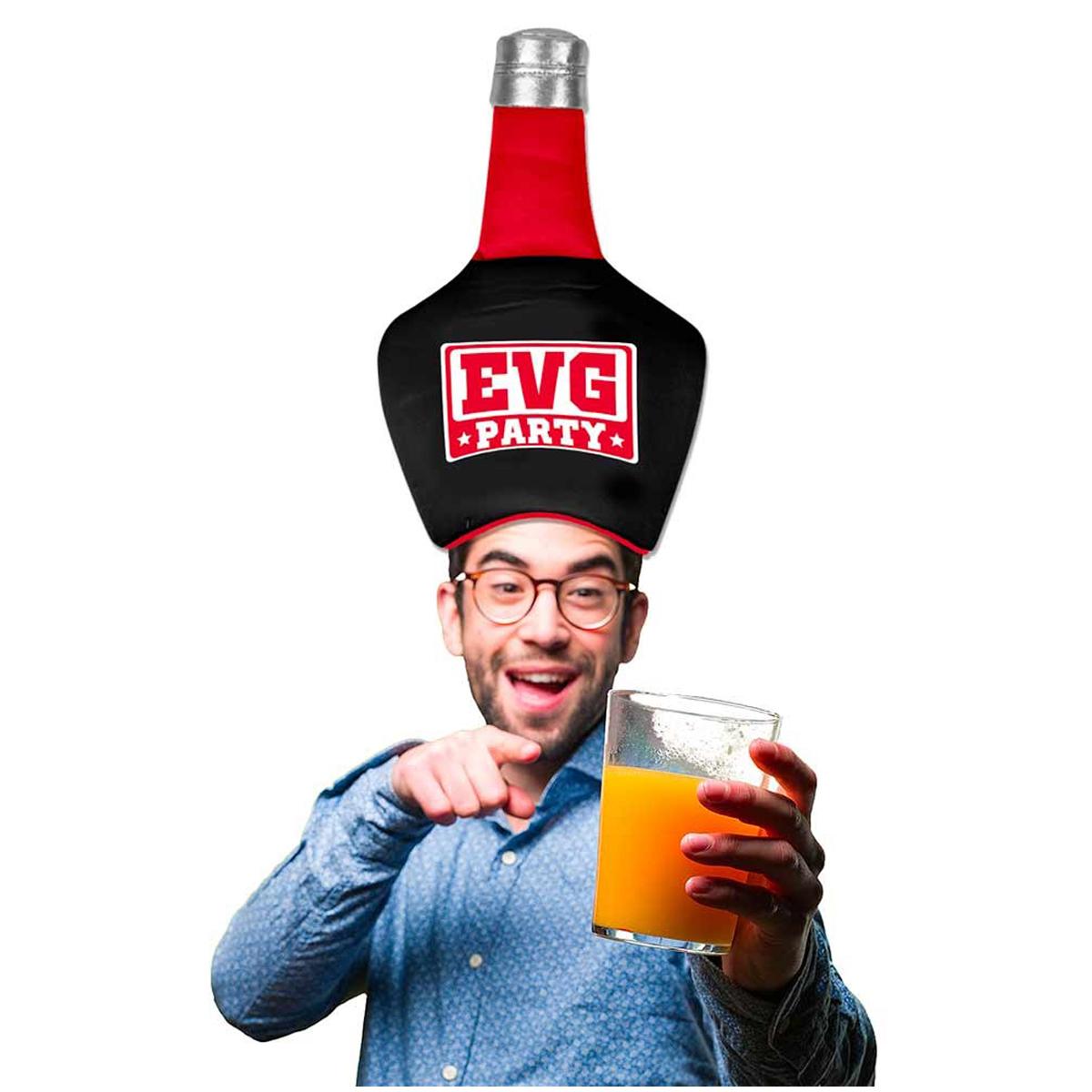 Bonnet humoristique bouteille \'Enterrement de vie de garçon / EVG\' noir rouge - 43x29 cm - [Q6718]