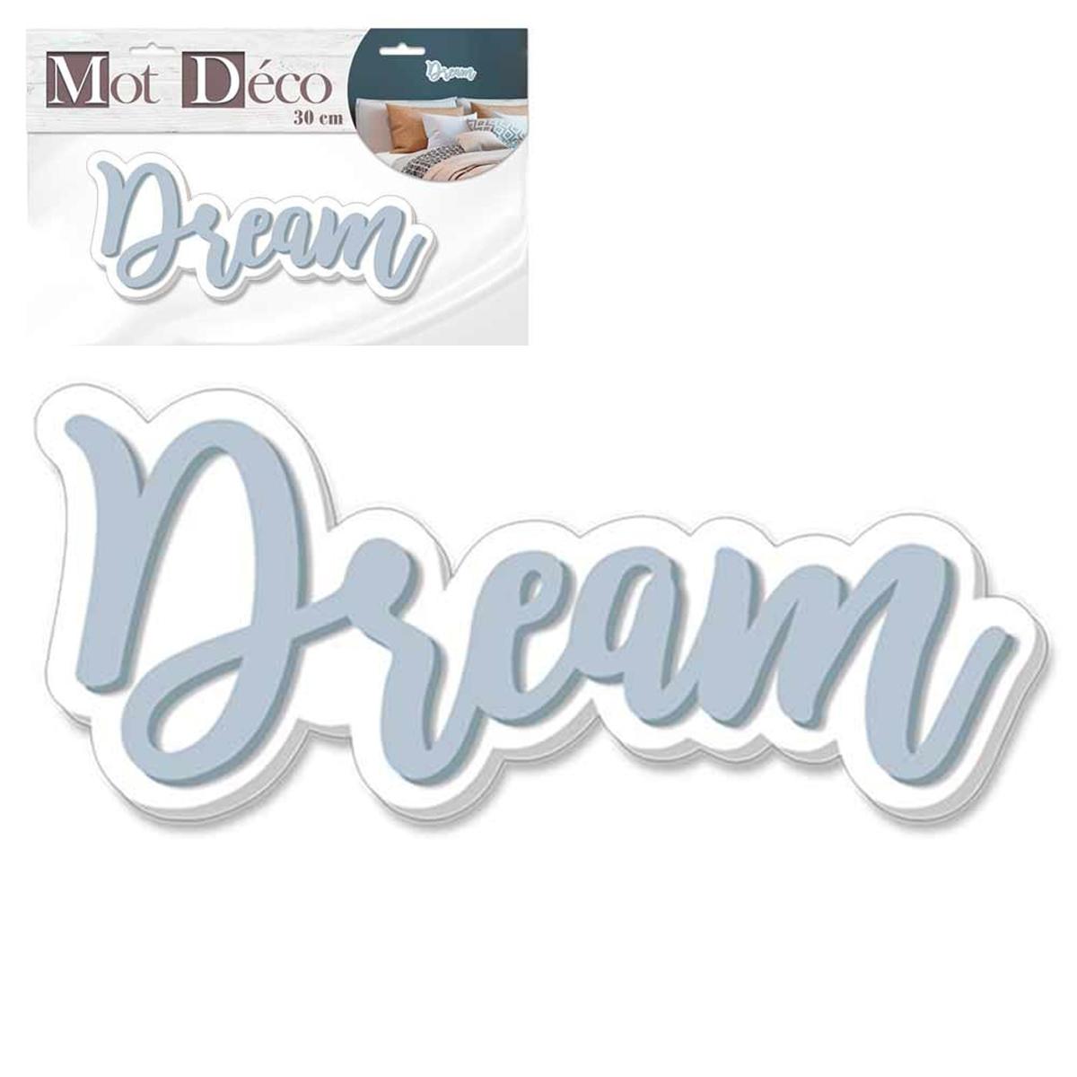 Mot Déco bois 3D \'Dream\' gris bleuté blanc - 30x12x1 cm - [Q7323]