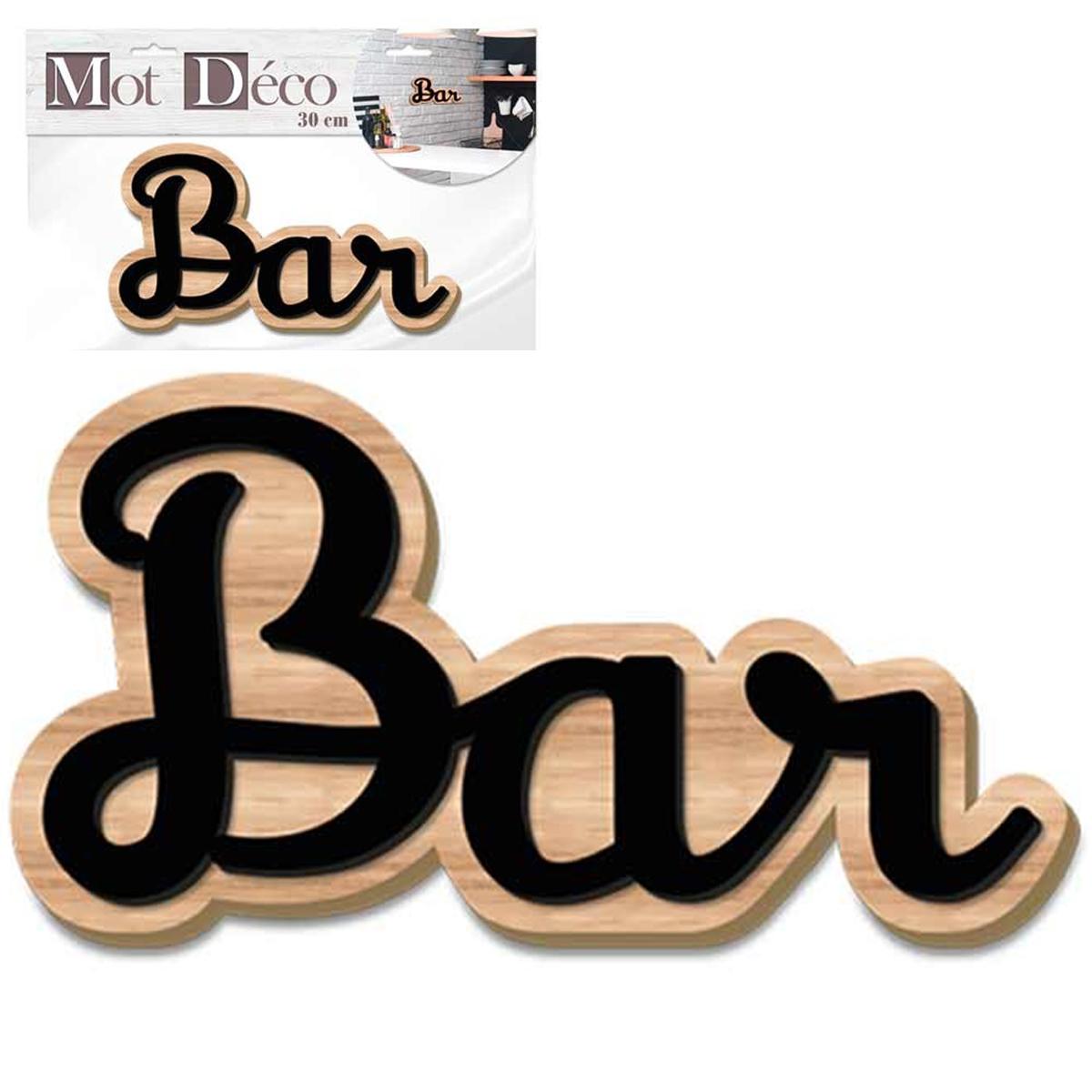 Mot Déco bois 3D \'Bar\' noir marron - 30x15x1 cm - [Q7325]