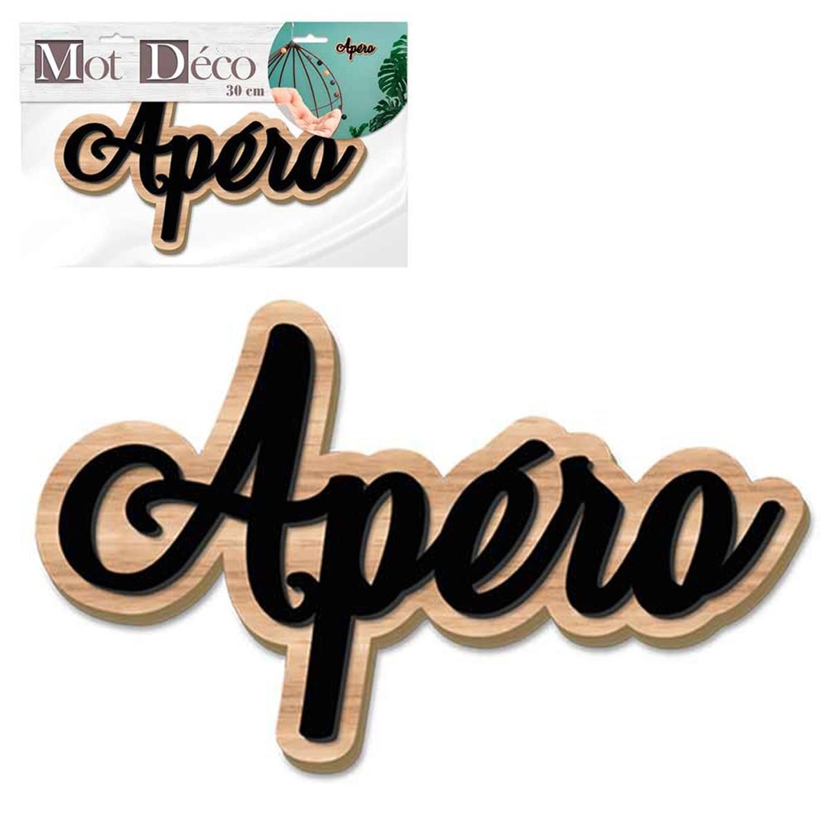 Mot Déco bois 3D \'Apéro\' noir marron - 30x8x1 cm - [Q7326]