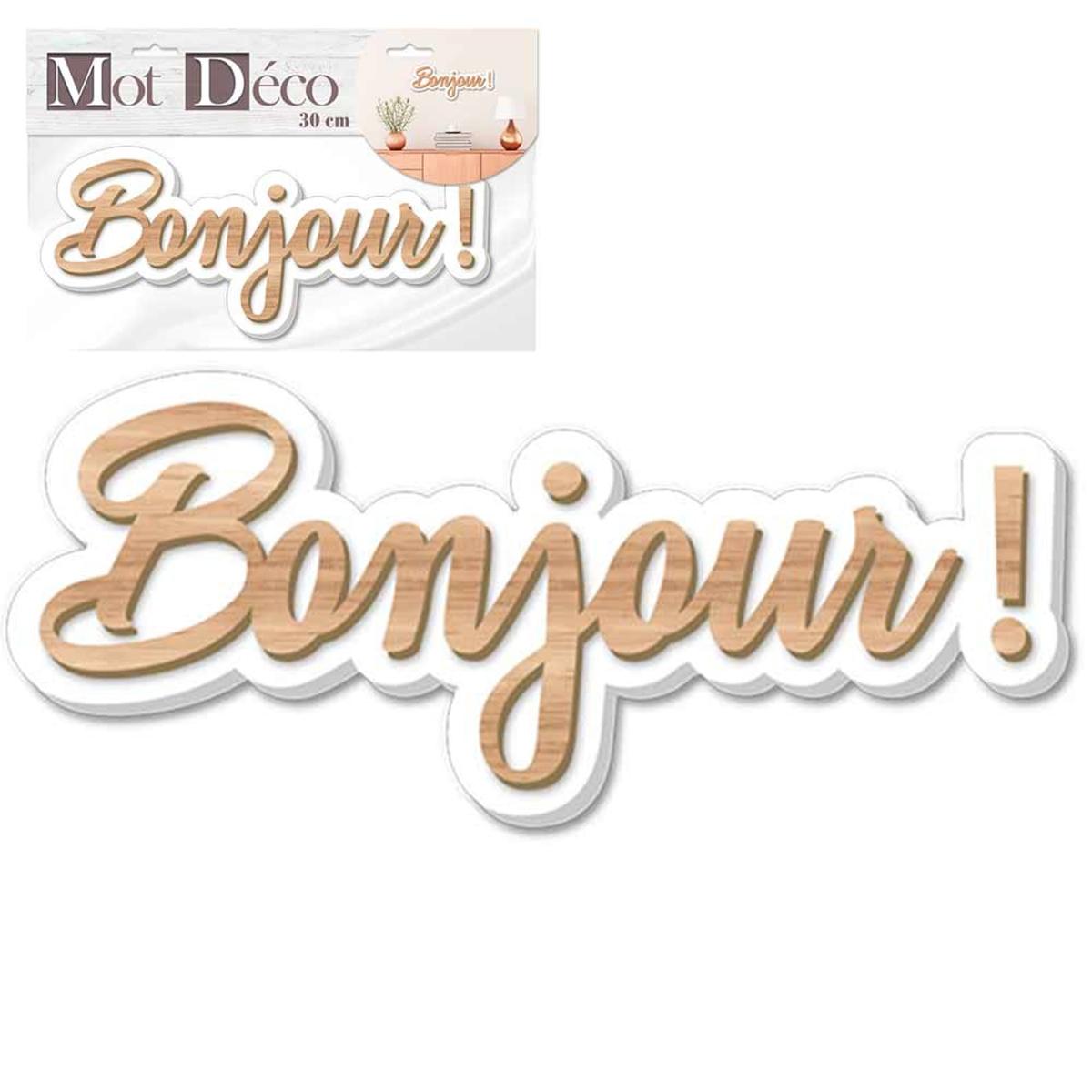 Mot Déco bois 3D \'Bonjour !\' marron blanc - 30x9x1 cm - [Q7328]