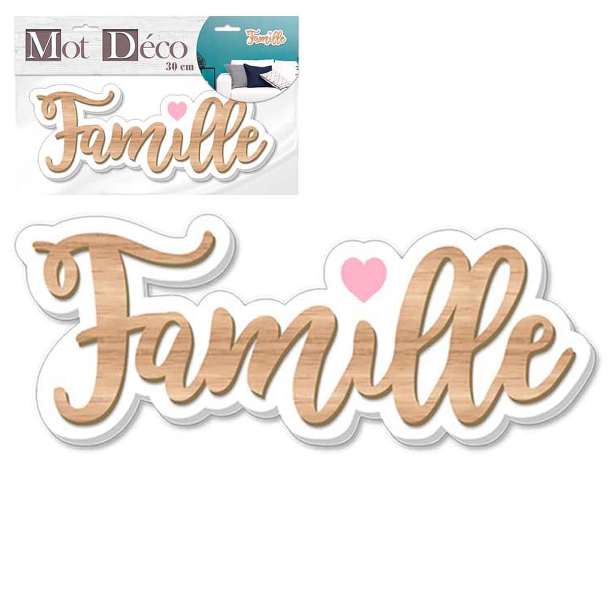 Mot Déco bois 3D \'Famille\' marron blanc - 30x11x1 cm - [Q7329]
