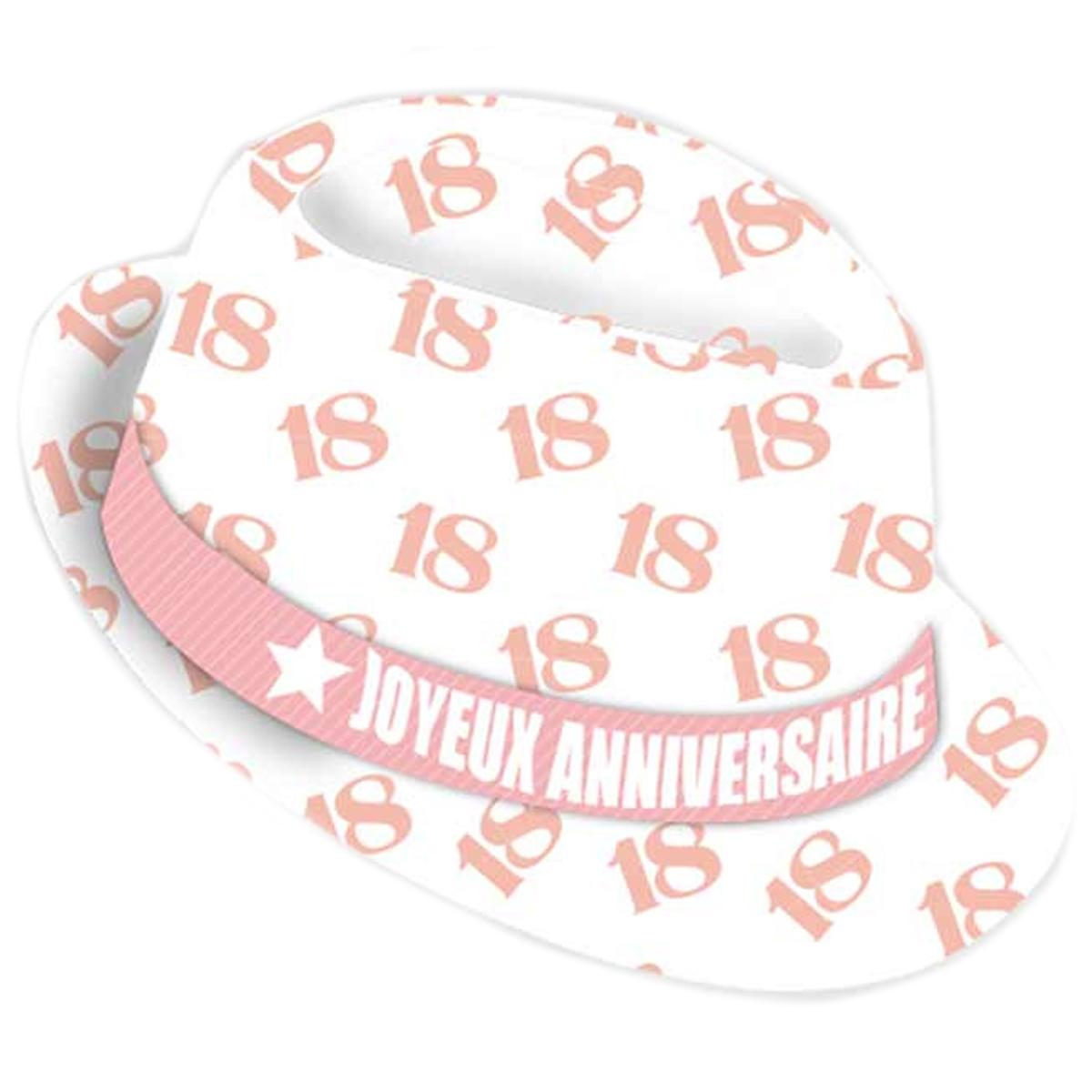 Chapeau anniversaire \'18 ans\' blanc rose - taille unique - [Q9077]
