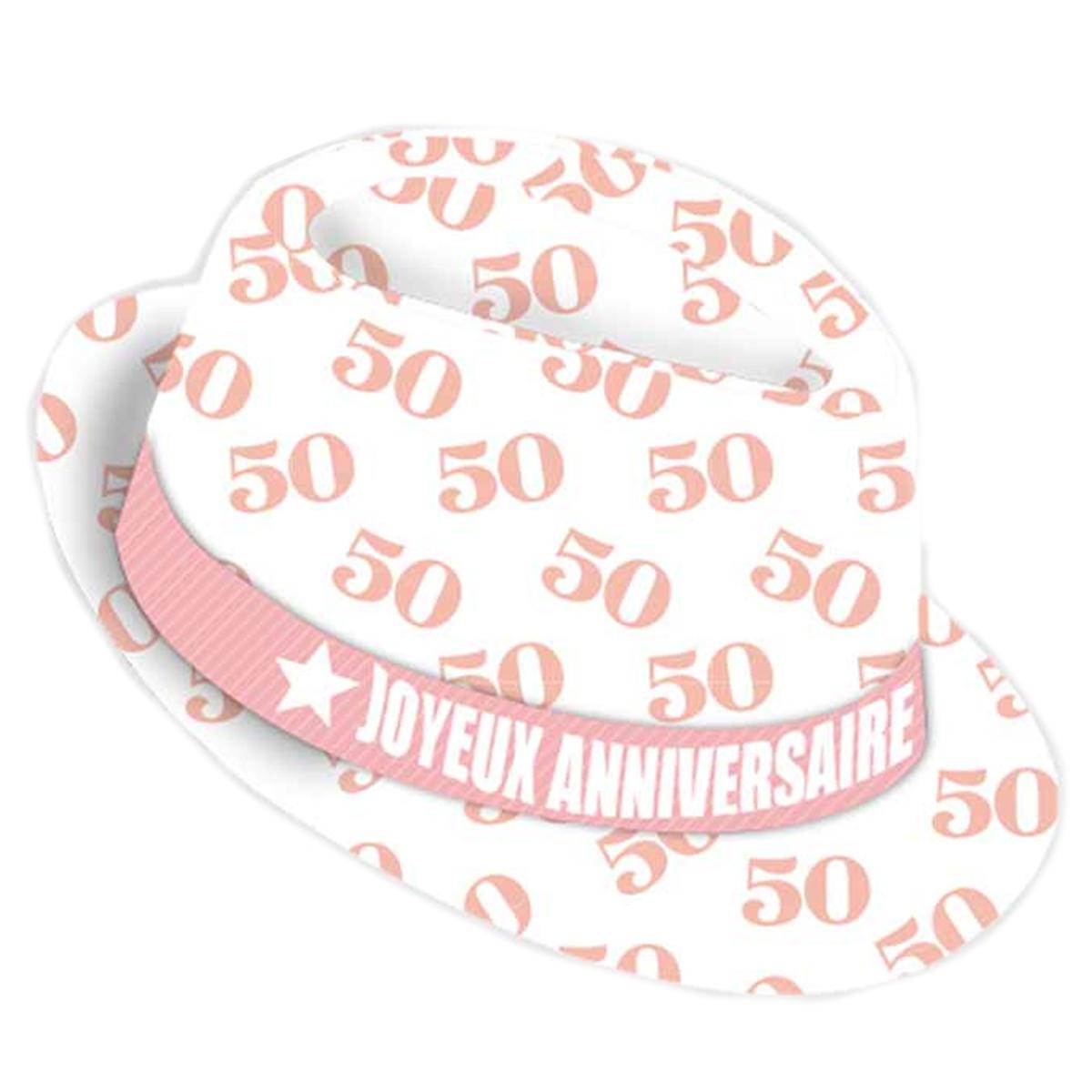 Chapeau anniversaire \'50 ans\' blanc rose - taille unique - [Q9081]