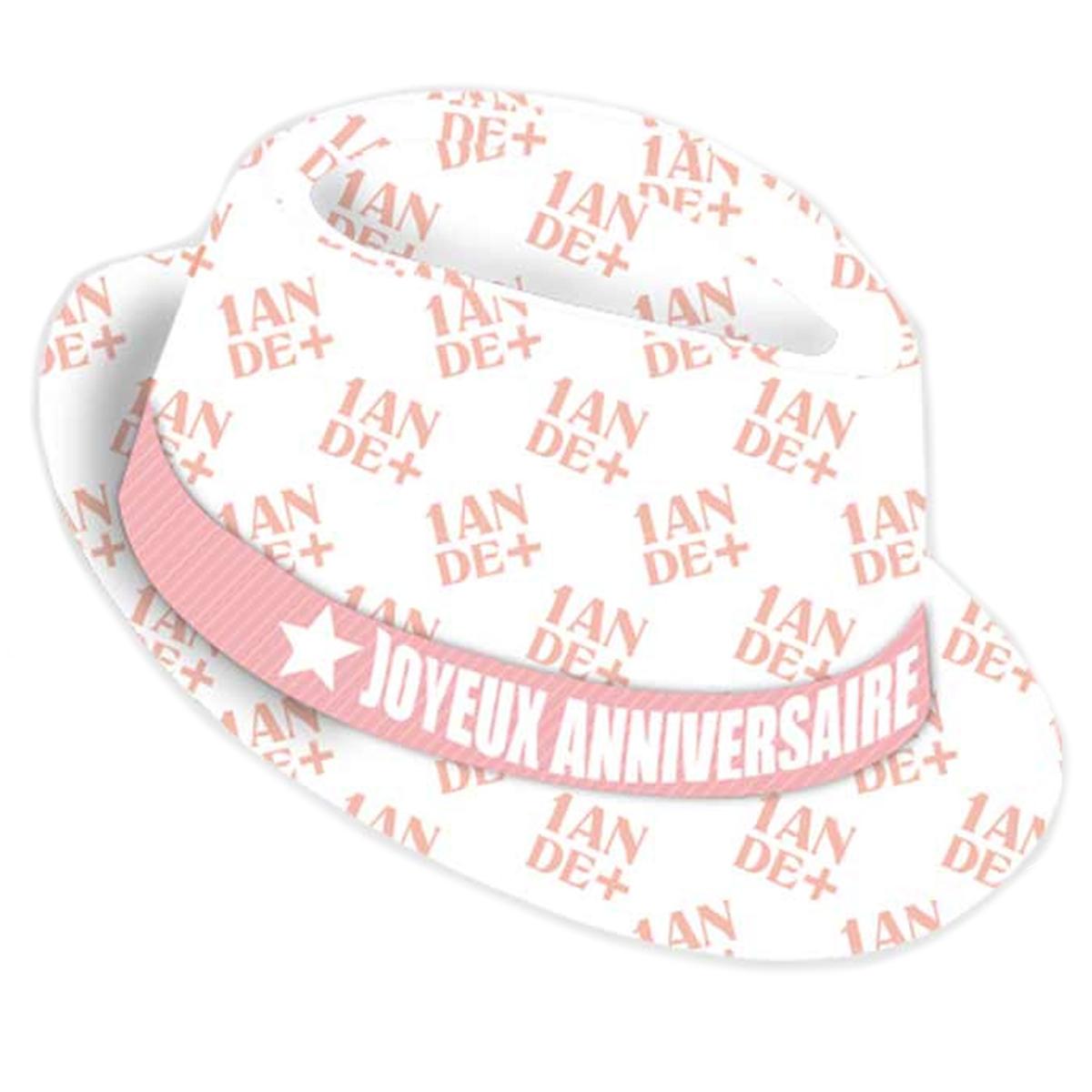 Chapeau anniversaire \'1 an de +\' blanc rose - taille unique - [Q9083]