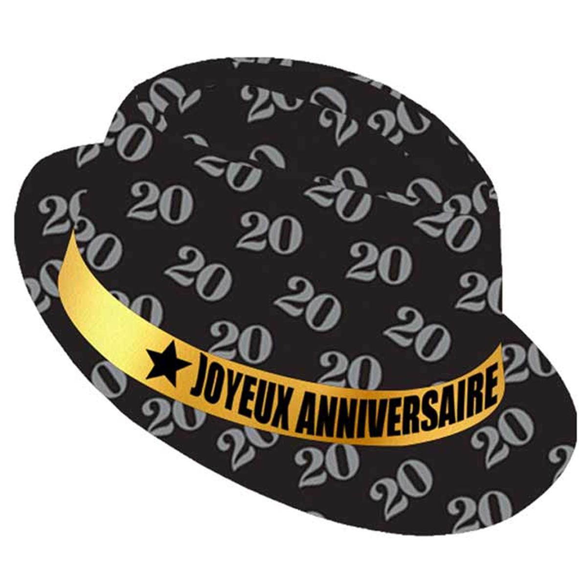 Chapeau anniversaire \'20 ans\' noir doré - taille unique - [Q9087]