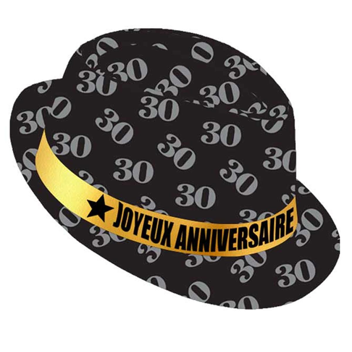 Chapeau anniversaire \'30 ans\' noir doré - taille unique - [Q9088]