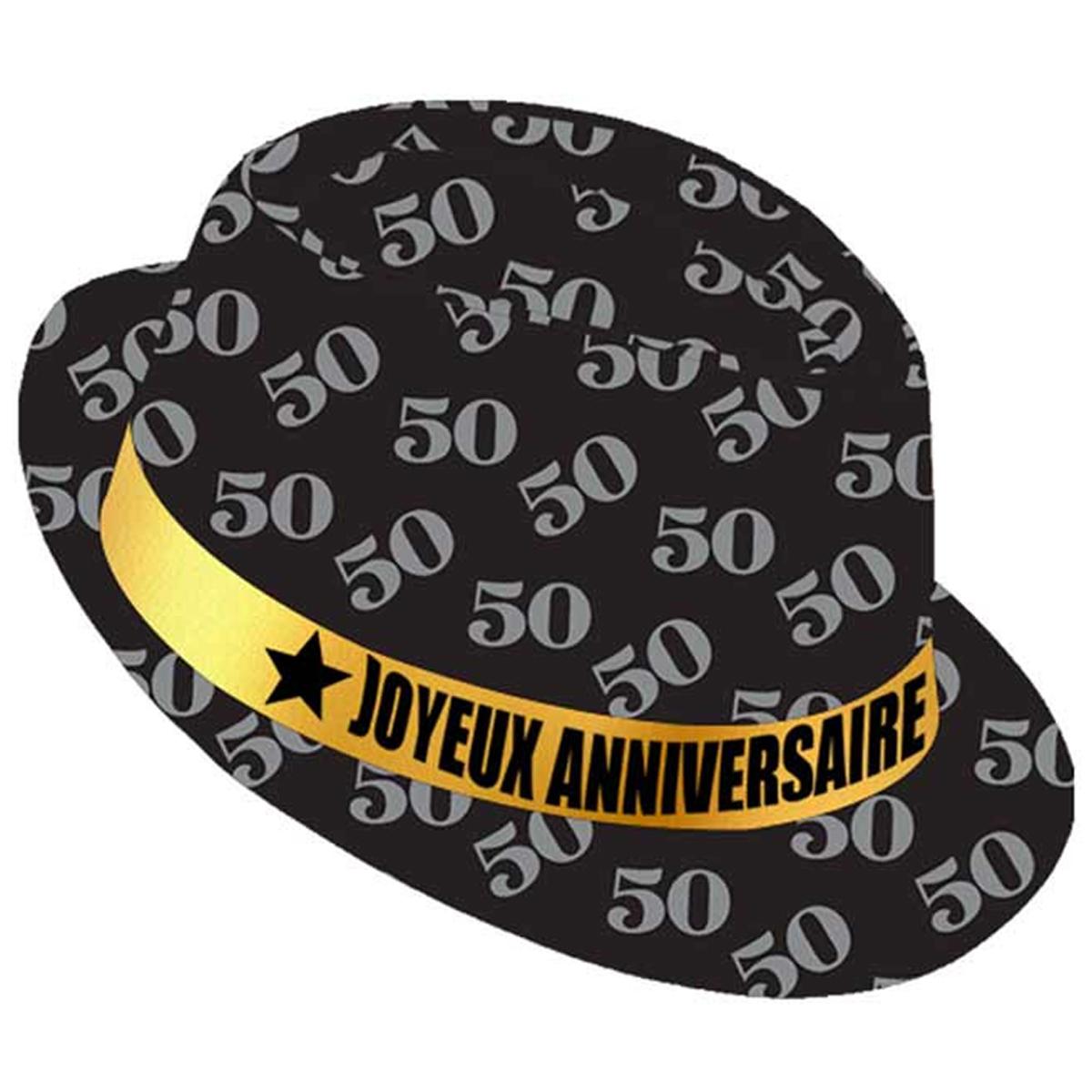 Chapeau anniversaire \'50 ans\' noir doré - taille unique - [Q9090]