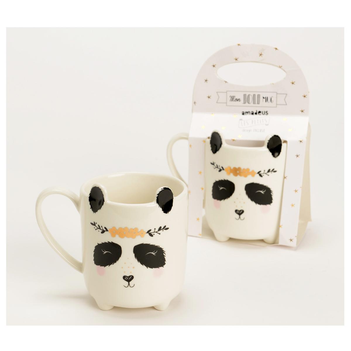 Mug céramique \'Panda\' blanc noir - 115x8 cm - [Q9558]