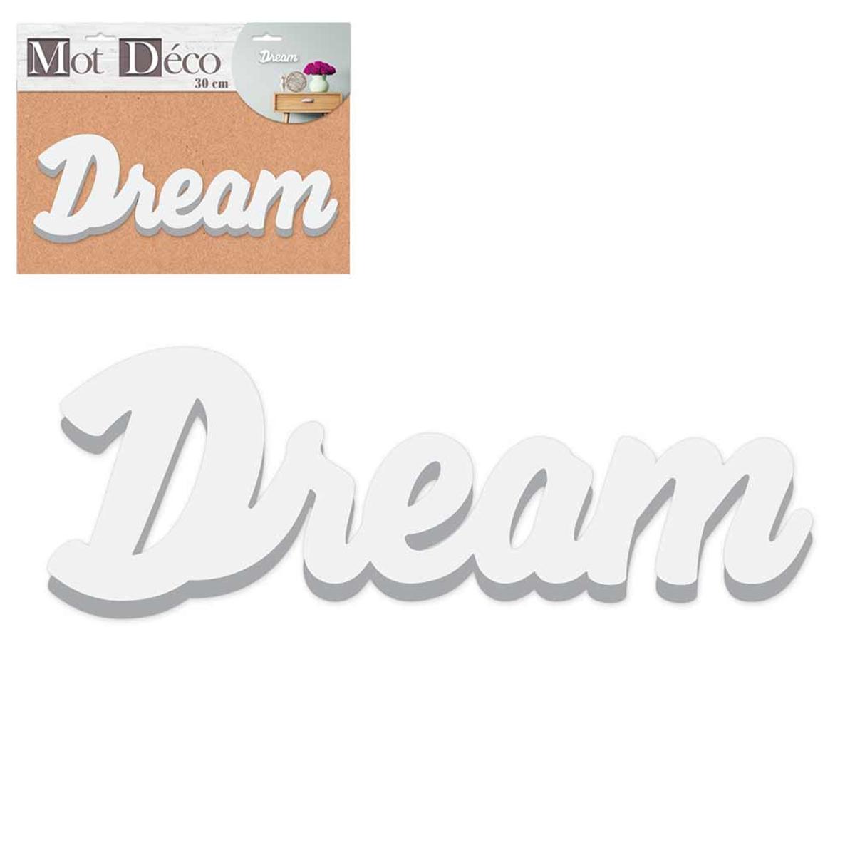 Mot Déco bois 3D \'Dream\' blanc - 30x135x15 cm - [R2264]